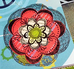 Paperkrafts: doodled paper pieces flowers  - step by step layering 5