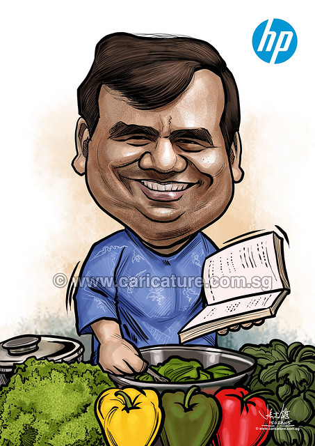 digital chef caricature for Hewlett Packard (watermarked)