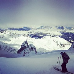 Preparing to ski down 'La Bellunese' on the Marmolada from 3269m - truly terrifying!