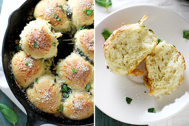 Parmesan Pesto Skillet Rolls | girlversusdough.com @stephmwise