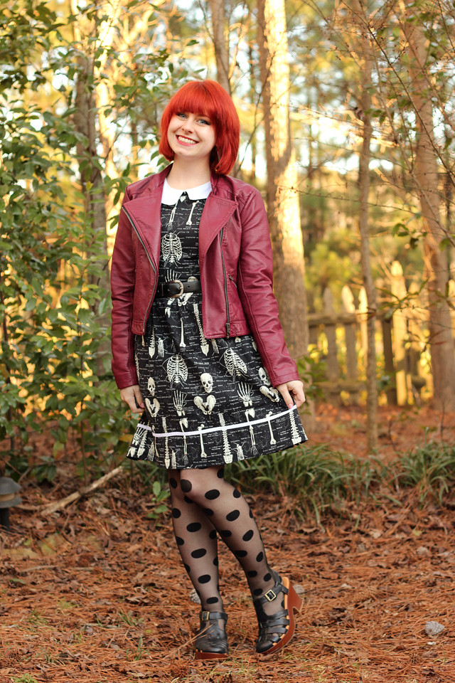 Skeleton Print Modcloth Dress with a Burgundy Leather Jacket and Polka Dot Tights