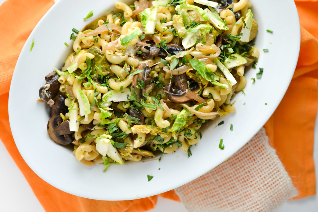 Creamy Mushroom, Brussel Sprout and Goat Cheese Pasta | Things I Made ...