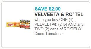 2 00 Off Velveeta And Two Ro Tel Tomatoes Printable Coupon The Shopper S Apprentice