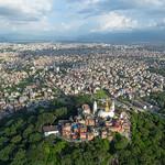 Aerial view of Swayambhunath looking towards Kathmandu valley