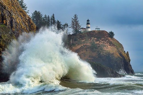 Waves and a lighthouse near Washington's Cape Disappointment (photo from Hidden Gems of the Western United States by Daniel Gillaspia)