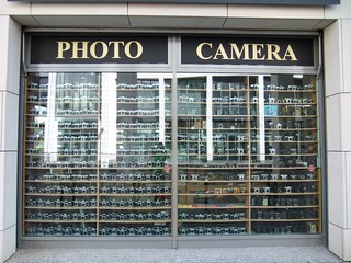 Lots of old fashioned cameras in the shop window - Dresden, Saxony, Germany