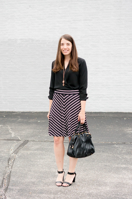 black chevron skirt + black wrap blouse + black heeled sandals; summer work outfit | Style On Target