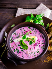 Russian cold soup with beetroot.