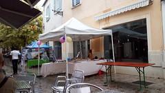 Une averse rue Jacques Amyot à Melun