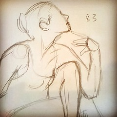 Daydreaming lady... #84 of 100 #gesturedrawings. . . . . . . #art #artstudent #drawing #practice #figure #female #human #study #sketch #illustration