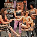 Alessandra Valea, Merissa Haddad, Santina Umbach, and Jasmine Knight in a scene from the SpeakEasy Stage Company production of IN THE HEIGHTS, extended now thru June 16 at the Stanford Calderwood Pavilion at the Boston Center for the Arts, 527 Tremont Street in Boston's South End.  Tix/Info:  617-933-8600 or www.SpeakEasyStage.com</a>.  Photo:  Craig Bailey/Perspective Photo.