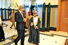 Secretary Kerry Walks With Omani Sultan Qaboos bin Said Al Said