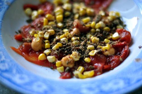 Tørret og røget vandmelon med grillede majs, chipotlemayonnaise og tørret oksekød