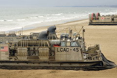 A U.S. Navy Assault Craft Unit 5 Landing Craft Air Cushion