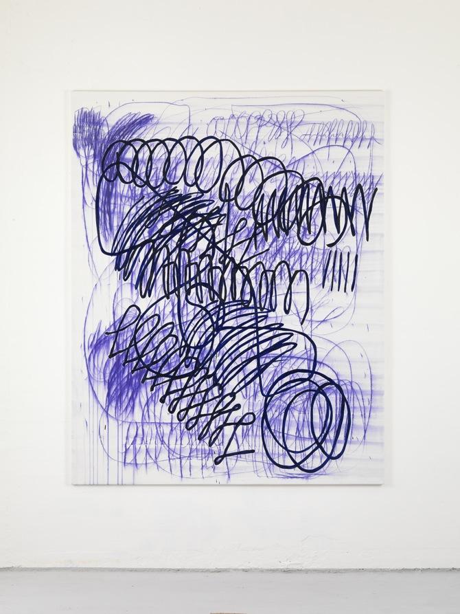 2 Jana Schröder, Spontacts, L 3, 2012, 200 x 160 cm, Kopierstift und Öl auf Leinwand
