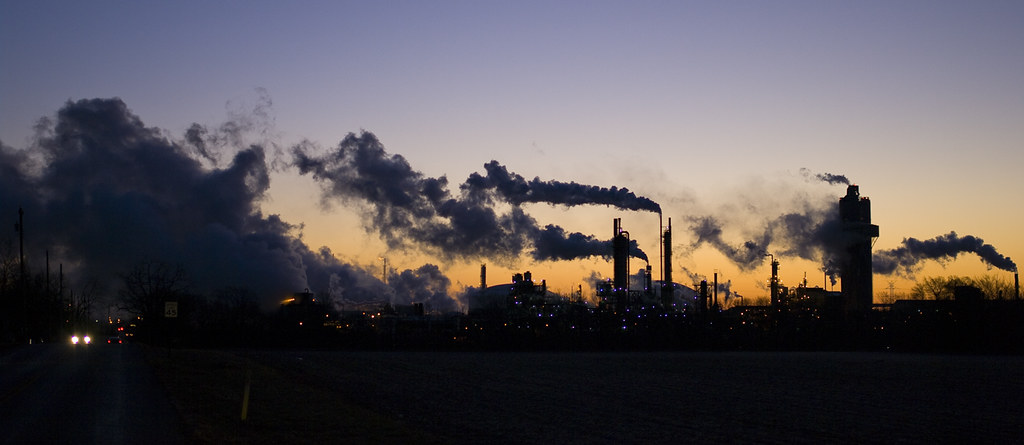 Industry Morning Twilight At Petro Chemical Plant In Lima Ohio USA