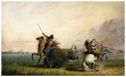 009- Caza del bufalo con lanza-Alfred Jacob Miller-1858-1860-Walters Art Museum