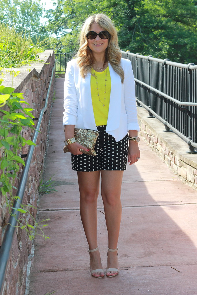 Polka Dot Shorts white draped blazer summer outfit