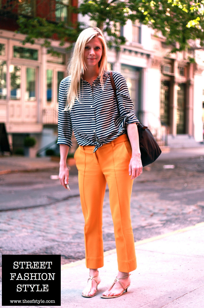 dvf, diane von furstenberg, mustard pants, striped blouse, strappy heels, new york fashion blog, street fashion style, thesfstyle, sfstyle,