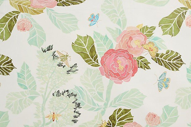 anthropologie watercolor peony wallpaper