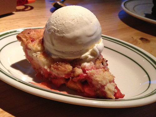 Strawberry Rhubarb Pie a la mode at Connie and Ted's