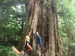 Molly and Collin with giant old growth cedar tree