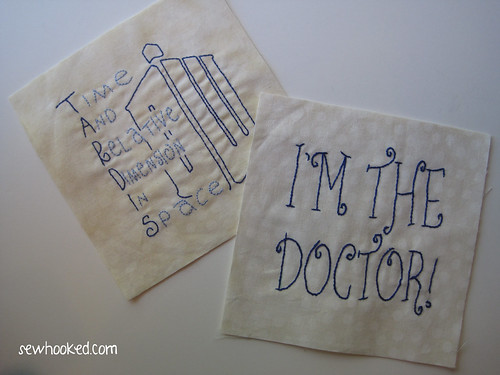 Embroidered Doctor Who blocks