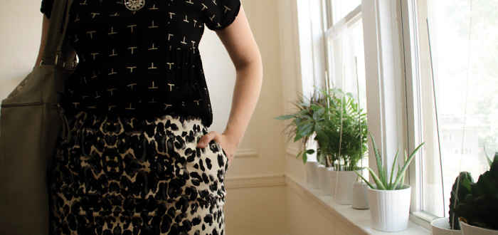 august outfit, print mixing, office outfit, neutral patterns, animal print pencil skirt, merona leopard skirt, what to wear to work, ootd, outfit ideas