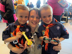 Scouts and their Den Leader at the Pinewood Derby