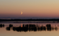 Moon and Venus over Big Lake
