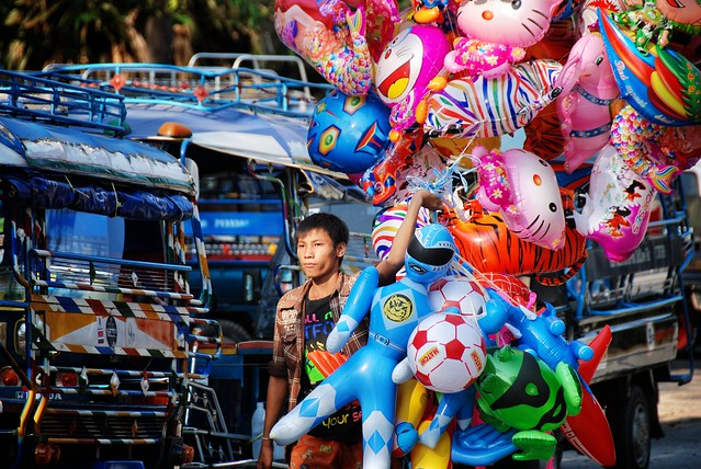 Balloon seller.  Luang Prabang, Laos.