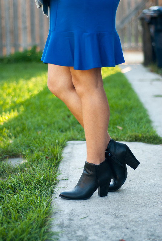 blue skirt ankle boots closeup