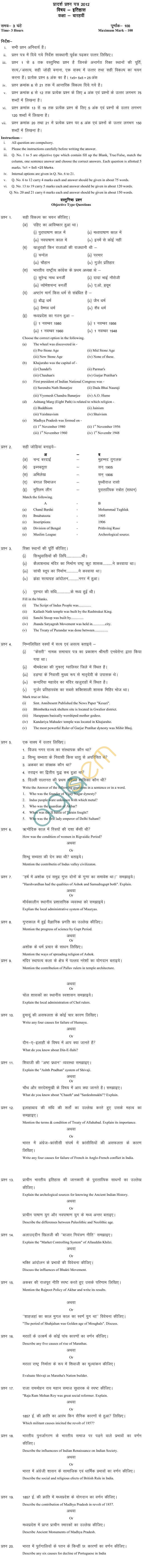 MP Board Class XII History Model Questions & Answers - Set 3