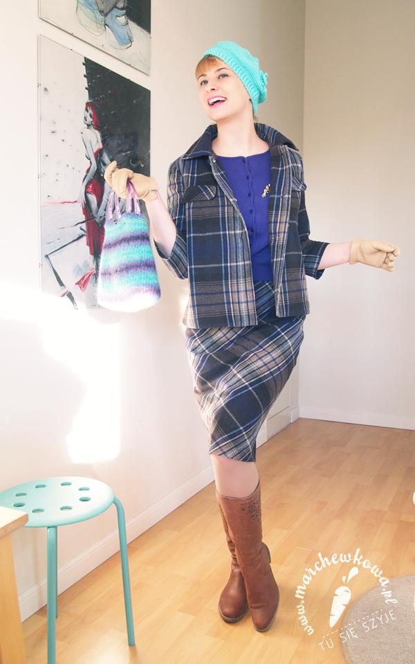 marchewkowa, szyciowy blog roku 2012, szafiarka, moda, retro, vintage, szycie, krawiectwo, Burda, wykrój, kostium, spódnica, żakiet, krata, wełna