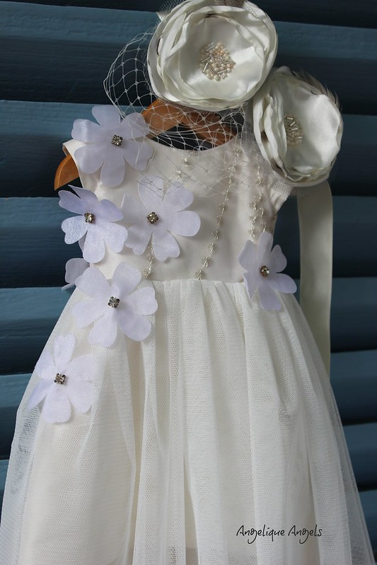 Silk and Tulle Dress and Matching Fascinator