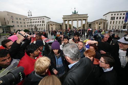 Hungerstreik der Flüchtlinge am Brandenburger Tor in Berlin