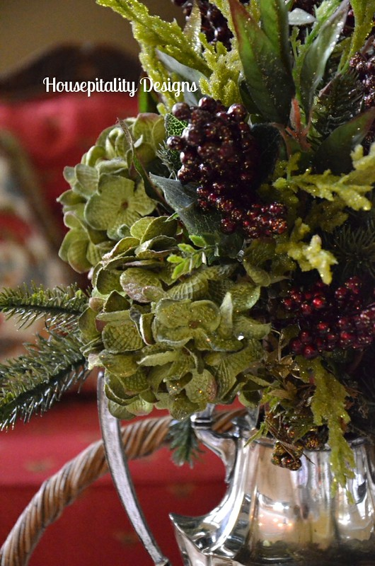 Christmas Arrangement in Vintage Silver Teapot