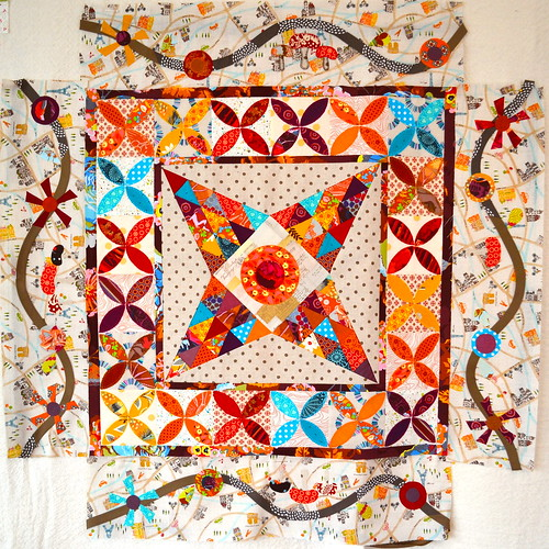 Midnight at the Oasis quilt - flower border in progress