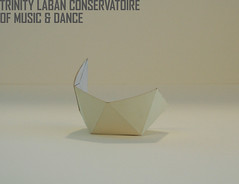 Partial icosahedric choreutic form: Model made from white card.