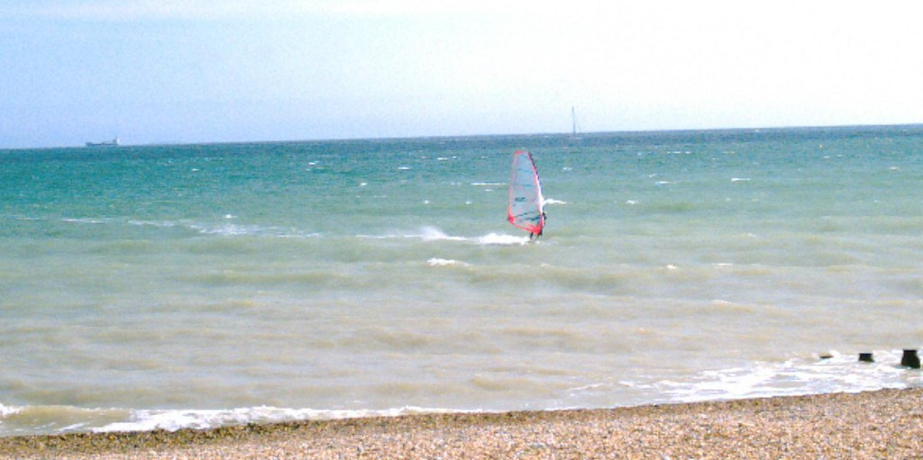 Hastings beach windsurfer