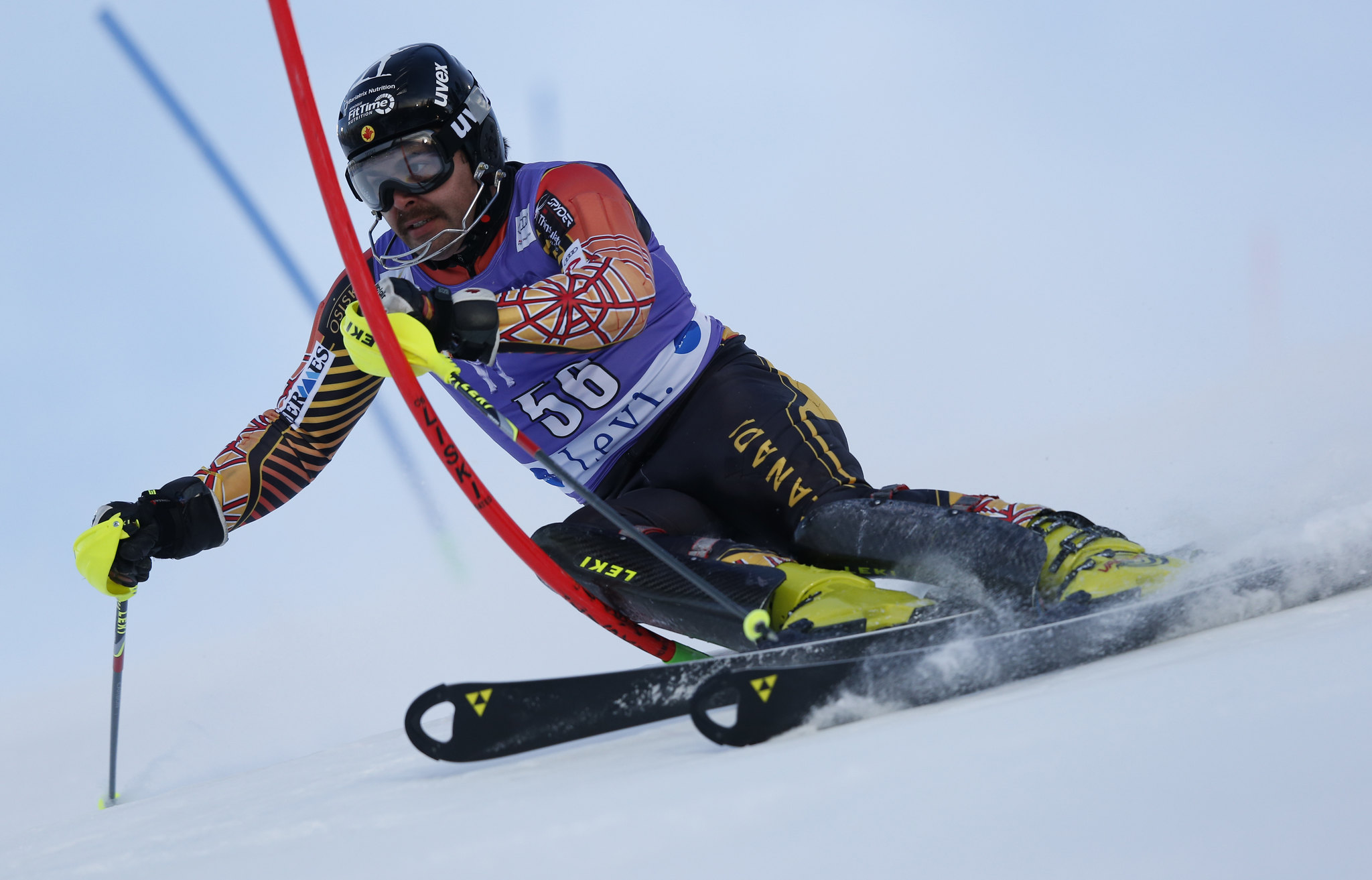Cousineau tackles the slalom course in Levi, Finland.