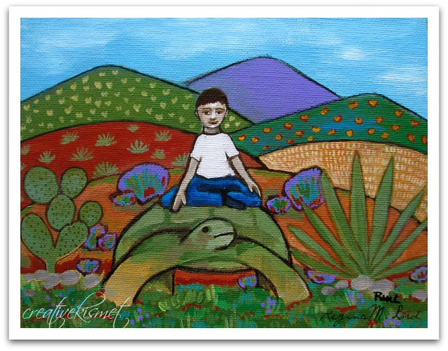 Boy with Desert Tortoise - art by Regina Lord