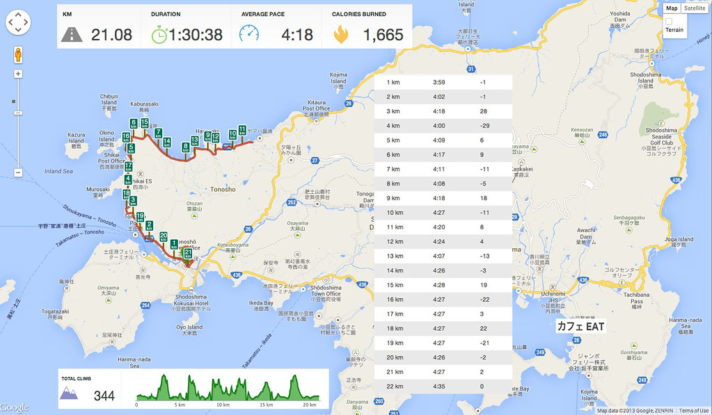 shodoshima half-marathon map