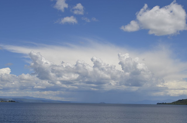 Clouds with bizzare outline effect, Lake Taupo