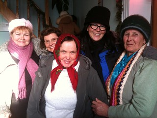 Amy Sorrell with a group of Ukrainian Babushkas