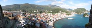 Greek seaside town panorama