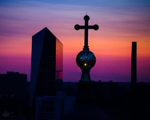 blue sunset orange reflection philadelphia reflecting cityscape purple unitedstates pennsylvania sheraton afterglow cathedralbasilicaofsaintspeterandpaul uscopyrightregistered2011