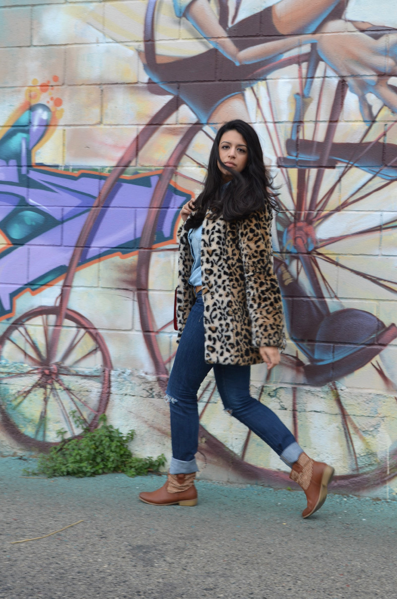 florenciablog coat animal print and total look denim redboxbag  (7)