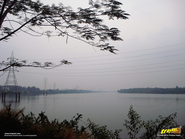 A view of Gurupur River on the way to Tannirbavi Beach, Mangalore, Dakshina Kannada, Karnataka, India