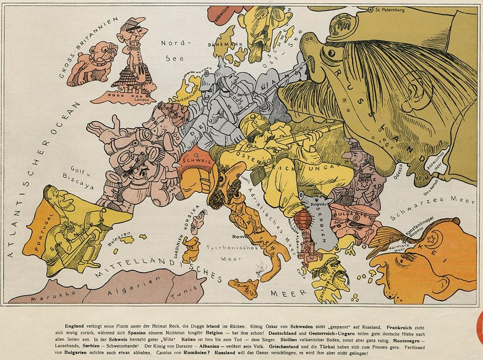 cartoon map of europe in 1914 the public domain review